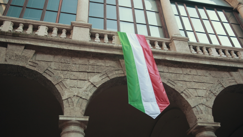 Long Flag Hang From Window Sill House Italian And The Symbol Of Lombardy In Milan | Shutterstock HD Video #1053973031