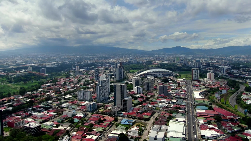Beautiful cinematic aerial footage on the city of San Jose Costa Rica and the Sabana Park
