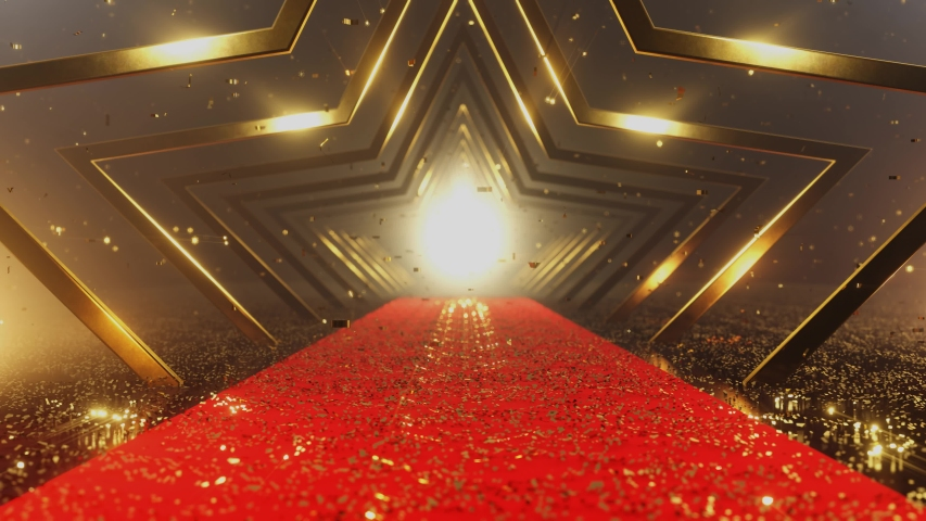 The camera moves along a corridor of gold stars and a red carpet strewn with gold confetti. The Golden confetti falls. 4K 3D loop animation Royalty-Free Stock Footage #1053993329
