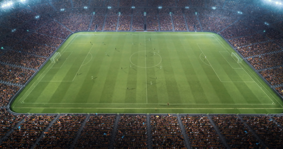 4k video of a 3d made soccer stadium with animated crowd and players at nigth.