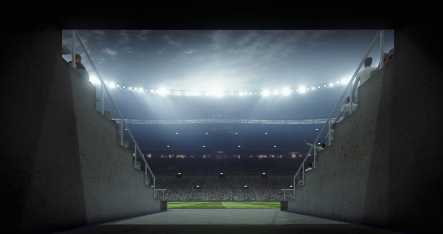 An entrance of a professional soccer stadium at night. The stadium was made in 3d without using existing references. Royalty-Free Stock Footage #1054001471