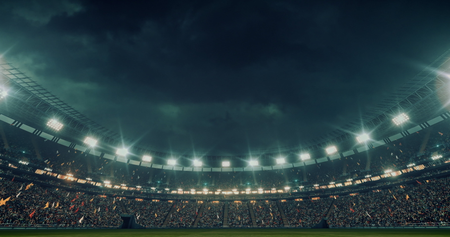 4k footage of a professional soccer stadium at night. The stadium was made in 3d without using existing references. | Shutterstock HD Video #1054001633
