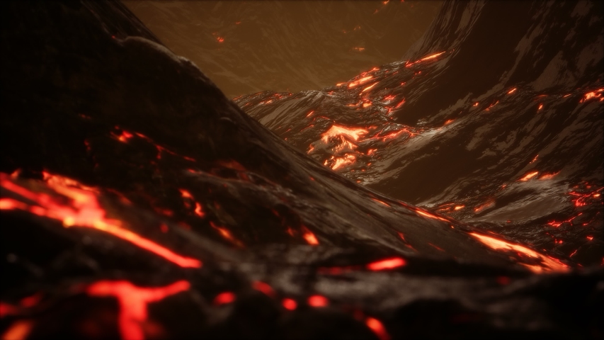 Red Orange vibrant Molten Lava flowing onto grey lavafield and glossy rocky land | Shutterstock HD Video #1054006844