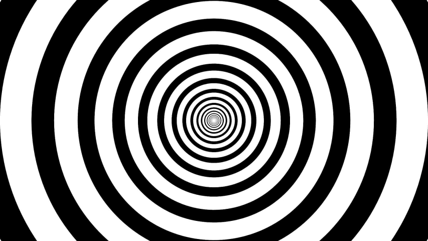 Psychedelic twisting circles. Round striped black white lines. Swirling hypnotic rotating abstraction. Op art effect, optical illusion. Seamless looping animation.
