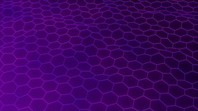 Video animation with purple abstract hexagons waving and bending on background. White contours of geometric hexagons making random fluctuation on purple backdrop.