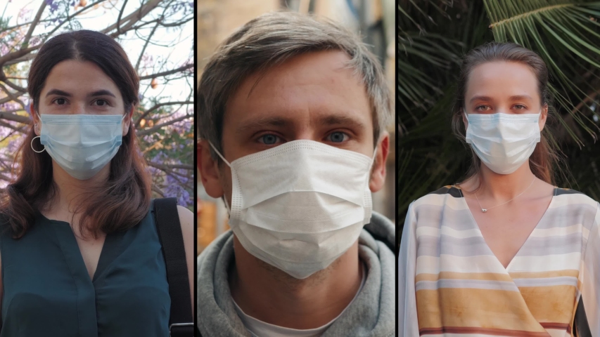 Group of people in masks, collage citizens Virus mask on street wearing face protection in prevention for coronavirus covid 19. public space on quarantine
