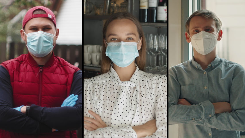 Collage group of people, small business after covid, Coffee Shop restaurant Woman Owner in Face Mask, courier, office worker, coronavirus Quarantine is over. Safety medical masks. Royalty-Free Stock Footage #1054035530