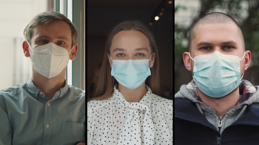 Collage group of people, small business after covid, Coffee Shop restaurant Woman Owner in Face Mask, courier, office worker, coronavirus Quarantine is over. Safety medical masks. Royalty-Free Stock Footage #1054035533