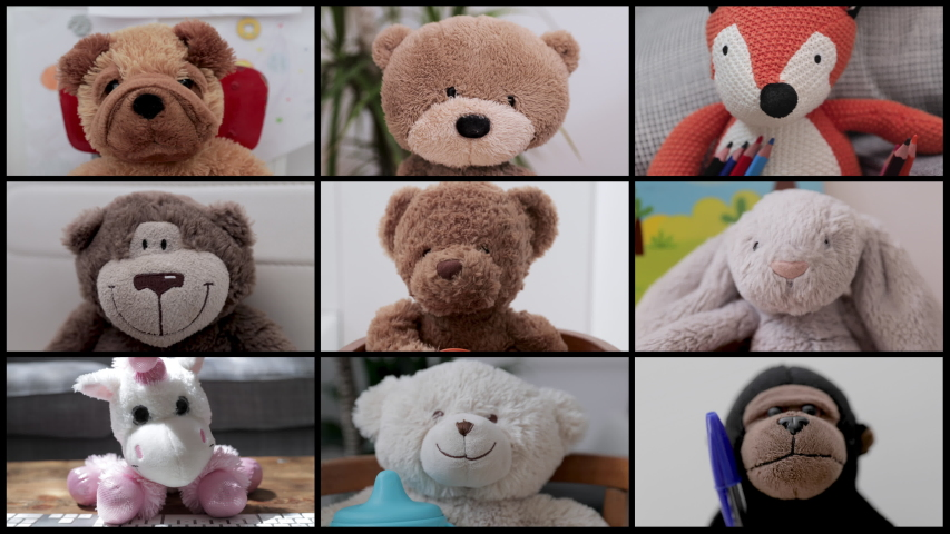 video of a group of teddy bear soft toys in online virtual remote business meeting Royalty-Free Stock Footage #1054039010