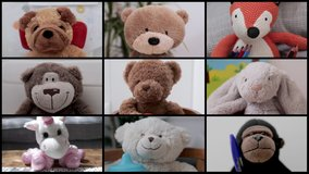 video of a group of teddy bear soft toys in online virtual remote business meeting
