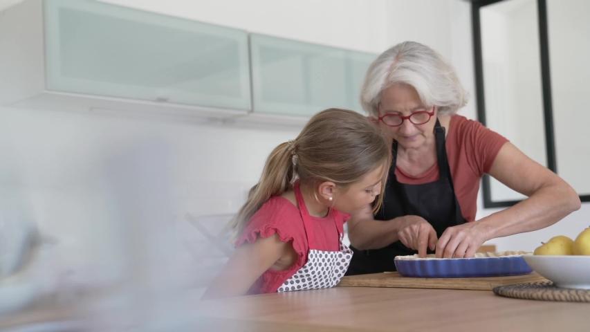 Grandmother with grandkid making apple pie  | Shutterstock HD Video #1054056107