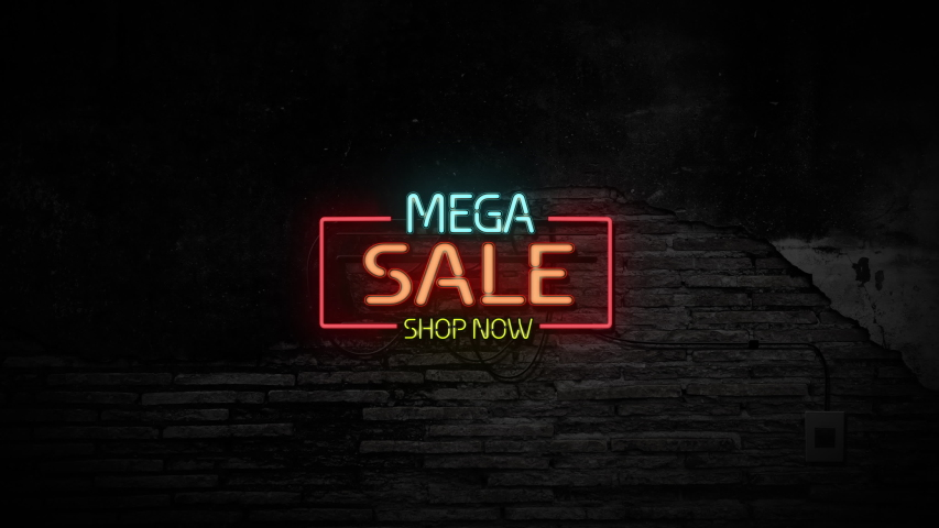 Mega sale shop now sign neon light on stone brick wall background. Business and service concept. | Shutterstock HD Video #1054058747