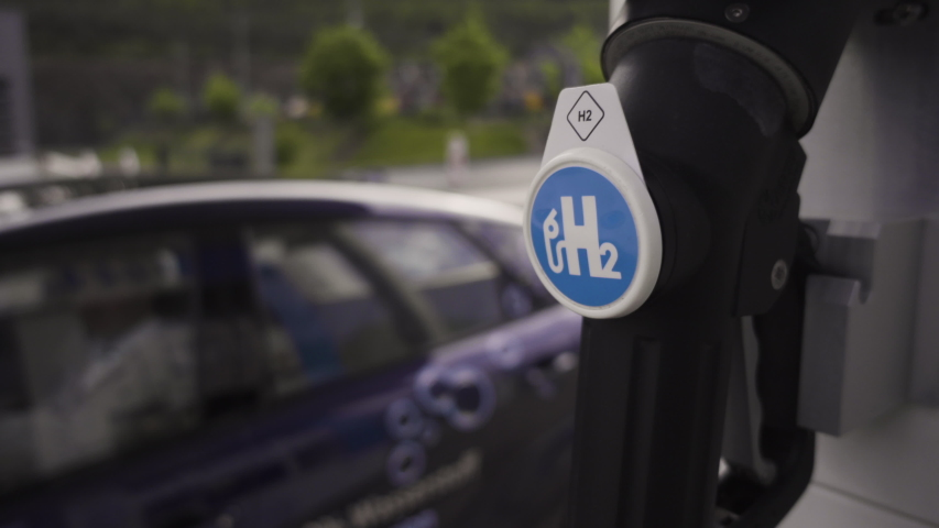 Hydrogen Car arrives at hydrogen gas station Royalty-Free Stock Footage #1054061681