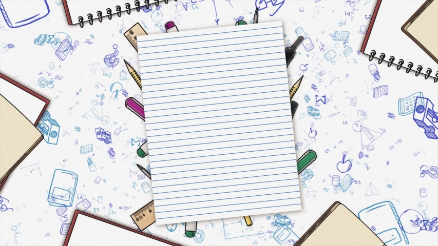 Back to school Background - Blank paper 4K animation - school supplies - study - education and learn  Royalty-Free Stock Footage #1054070222