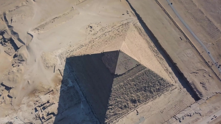 Aerial footage of the famous Pyramids of Giza 4K (one of the seven wonders of the world)
