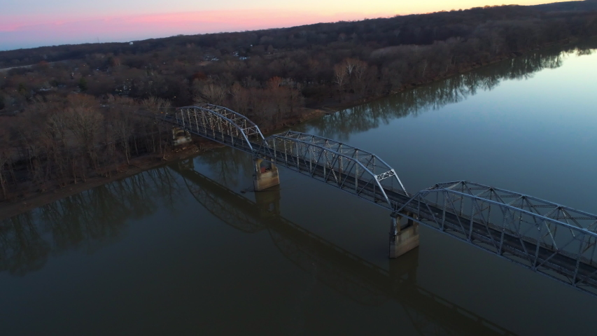 Aerial view of New Harmony bridge connecting White County, Illinois and the city of New Harmony, Indiana. Shot with Phantom Four Pro. Filmed December, 2019.