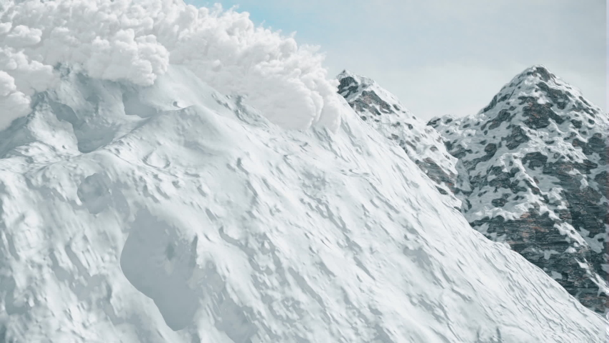 Computer simulation of snow avalanche in the mountains.