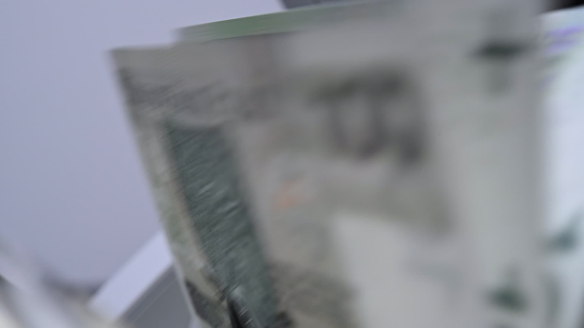 Slow Motion Video Of Bank Bill Counter Totaling Amount Of Money Of Foreign Currency.   Shutterstock HD Video #1054083866