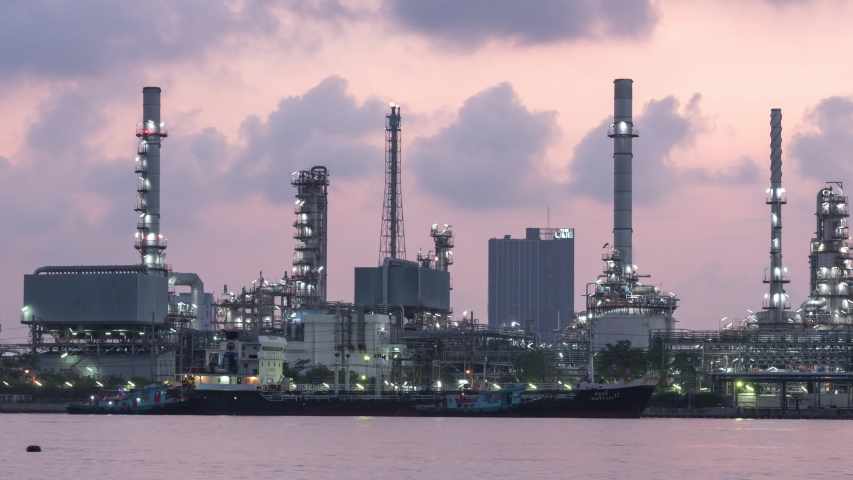 Time lapse Oil refinery. Oil refinery located in Bangkok, Thailand. | Shutterstock HD Video #1054093979