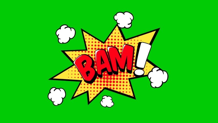Comic strip speech bubble cartoon animation, with the words bam!. Red text, green background