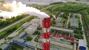 chemical plant smoking pipe aerial video