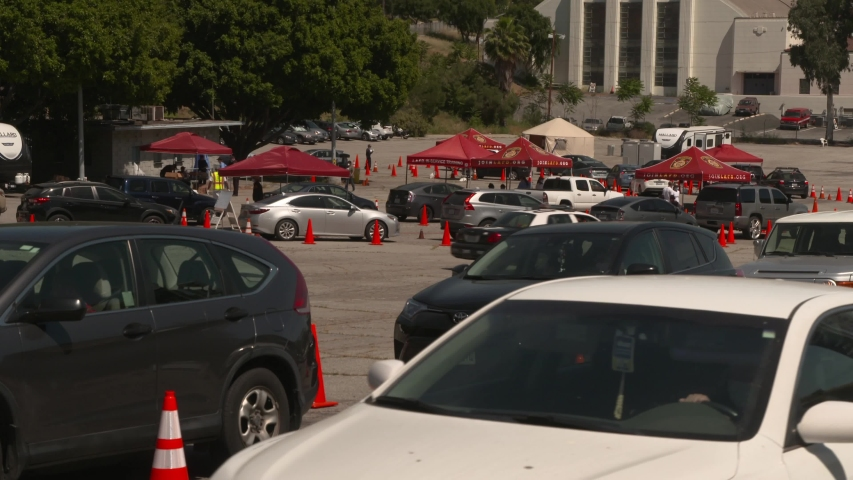 Los Angeles, CA/USA 5/6/2020 Dodgers Stadium Coronavirus Drive-Thru Testing Site in Parking Lot 13.