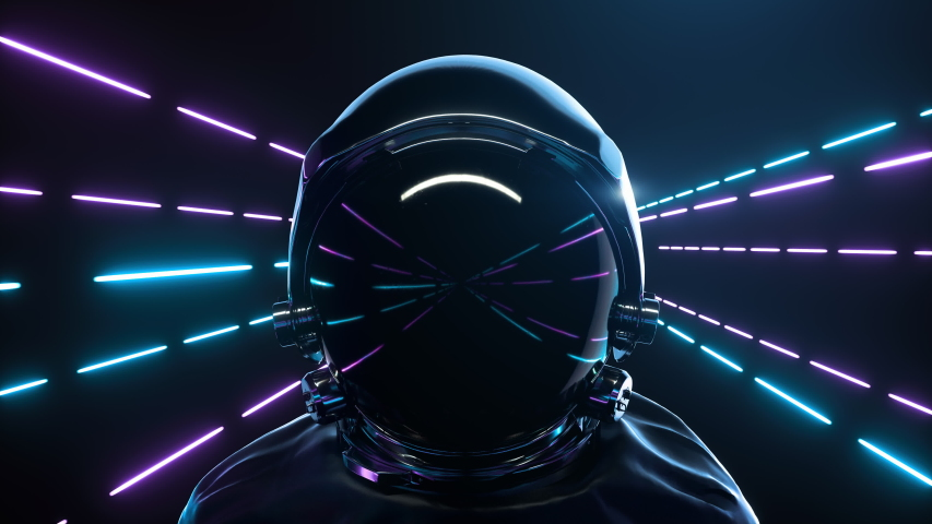 Astronaut With neon laser Lights In dark space. Retrowave style. Seamless Loop background 3d animation Royalty-Free Stock Footage #1054109912