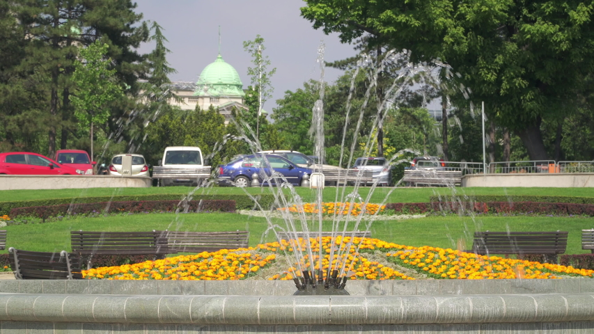 Outdoor Andricev Venac park, a small decorated park with fountains in central Belgrade, Serbia | Shutterstock HD Video #1054111091