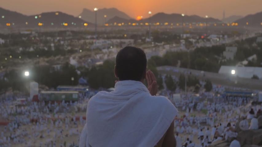 Hajj in saudi arabia pilgrims on mount Arafat. Mecca, Medina, Saudi Arabia.
