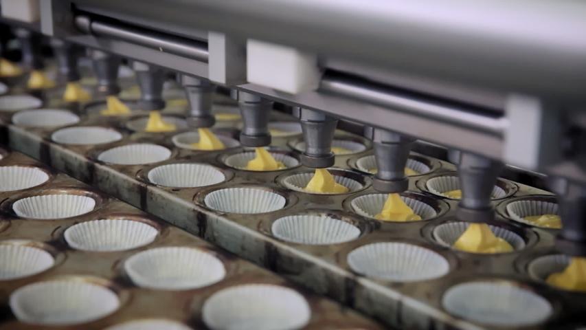 Apply, automate, automated, automatically, automation, bake, bakery, baking pan, baking tin, batter, belt, blur, blurry, clean, closeup, conveyor, cream, cup, dessert, equipment, fabrication, factory, | Shutterstock HD Video #1054114724