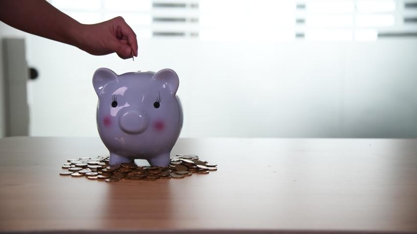 Woman hand putting coins into piggy bank | Shutterstock HD Video #1054118507