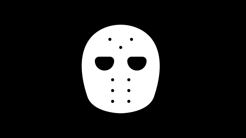 From the Glitch effect arises hockey mask symbol. Then the TV turns off. Alpha channel Premultiplied - Matted with color black | Shutterstock HD Video #1054121897