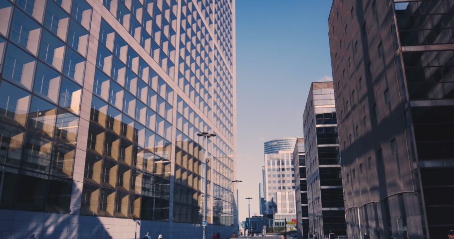 Business district building with blue sky, Paris, France Royalty-Free Stock Footage #1054132256
