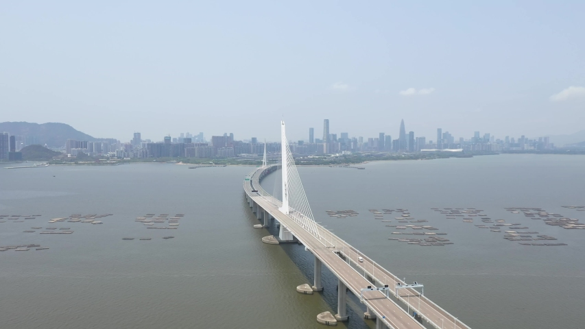 4K Aerial view of Shenzhen Bay Bridge connect between China and Hong Kong