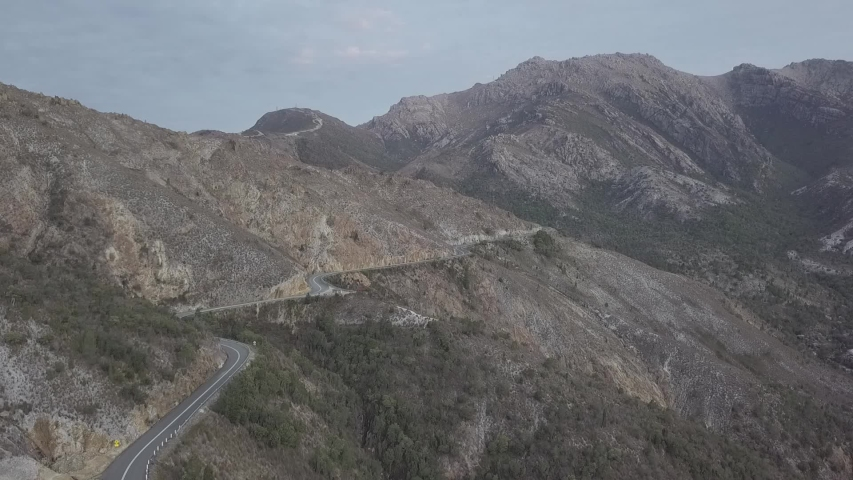Aerial/Drone Footage of Lyell Highway and Iron Blow Lookout in the Mining Town of Queenstown, Tasmania, Australia