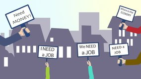 Economic crisis. 2d animation showing a crowd of people protesting as they don't have work and money.