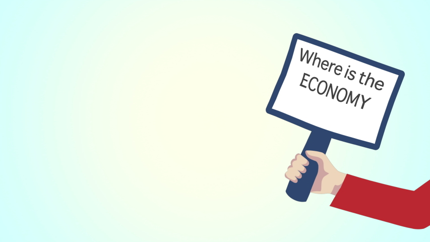 Concept of economic penury. Hand waving a banner board with words where is the economy written on it over blue background.