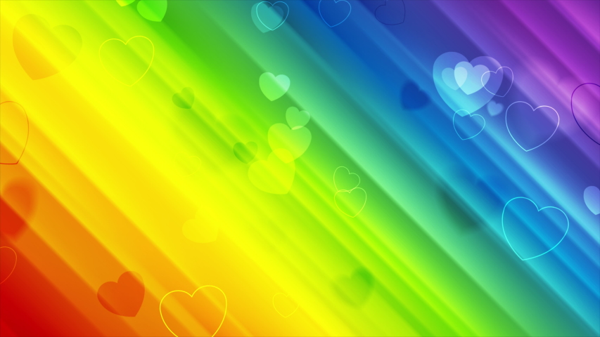 LGBTQ Pride Month abstract colorful motion background with hearts and blurred stripes. Seamless looping. Video animation Ultra HD 4K 3840x2160 | Shutterstock HD Video #1054147346