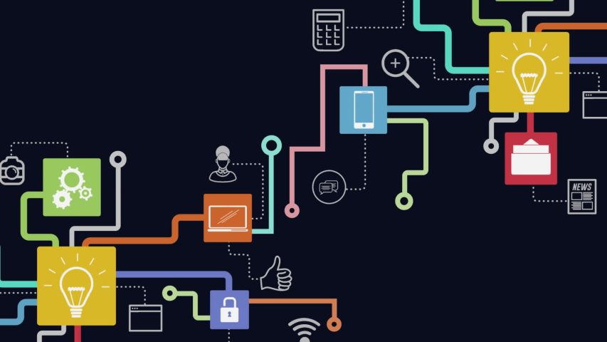 Animation of network of connections cloud computing with lightbulb, on line security, message, wifi icons on black background. Global network of connections and communication cloud computing  | Shutterstock HD Video #1054148393