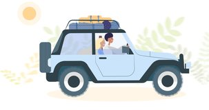 Couple man and woman driving a car on vacation, trip in with luggage on the roof the moving background of nature. Looped animation 2d, video clip. Concept of travel, leisure time and transport.