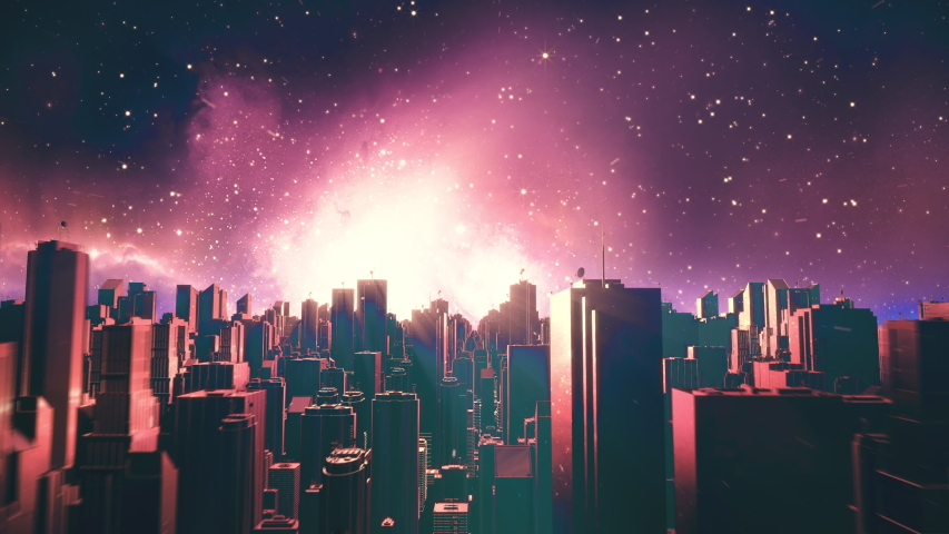 Retro futuristic city flythrough seamless loop. 80s sci-fi synthwave landscape in space with stars. Looping vaporwave stylized VJ 3D animation for EDM music video, videogame intro. 4K motion design