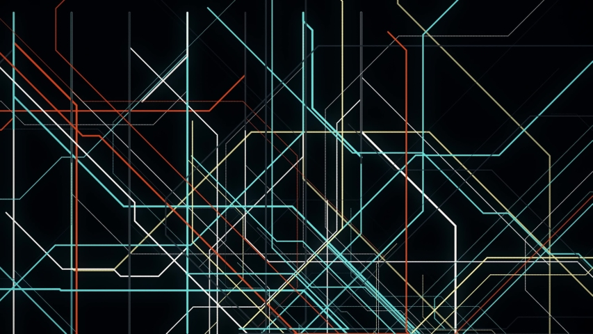 Electronic metro map. Animation. Neon lines move along specified route and create schematic animation on black background Royalty-Free Stock Footage #1054161875