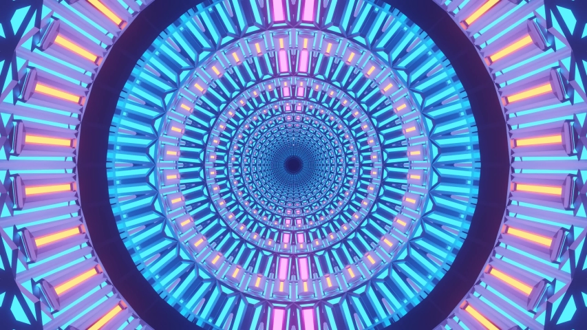 Fast beating circles rotating and expanding with bright purple and pink colorful designs and patterns, motion graphics sci fi