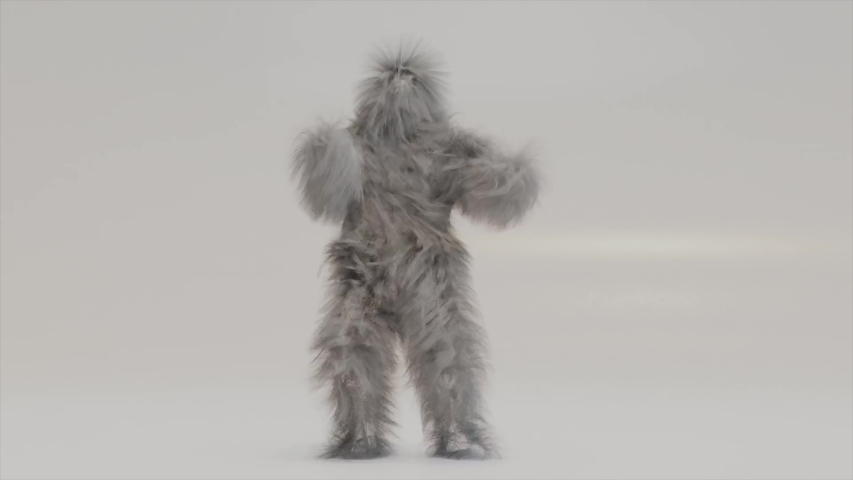 Hairy Monster Dancing clip isolated on the white background. fur bright funny fluffy character, fur, full hair, Chewbacca, snowman, 3d render. Sneaking out.  | Shutterstock HD Video #1054167041