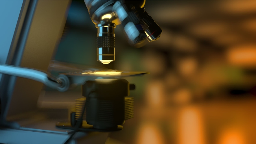 4K 60fps science research concept - industrial electronic microscope at work automatically isolated on dark background, UHD 3D animation