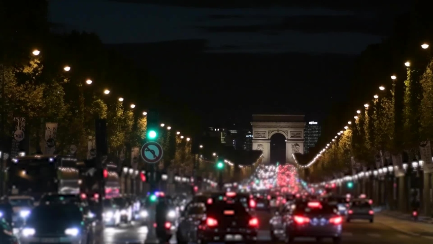 Arc de Triomphe in Paris at night | Shutterstock HD Video #1054186199
