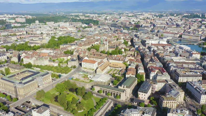 Dolly zoom. Geneva, Switzerland. Flying over the central part of the city in the morning hours, Aerial View