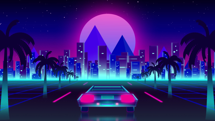 Animation of vintage video game screen with the words High Score written in pink glowing letters with back of sports car driving towards city and glowing pink moon on palm tree lined highway