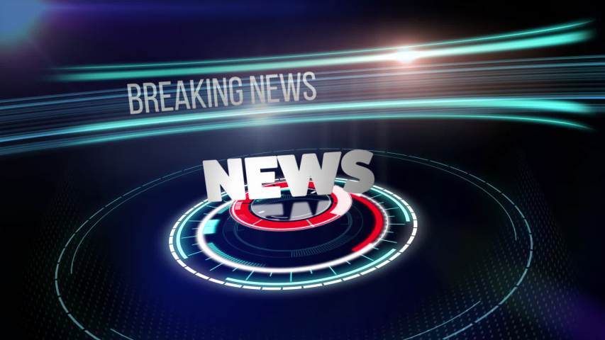 Animation of the words News and Breaking News written in white with digital scope scanning and data processing with a central glow and flowing data information with blue lines on black background.    Shutterstock HD Video #1054190645
