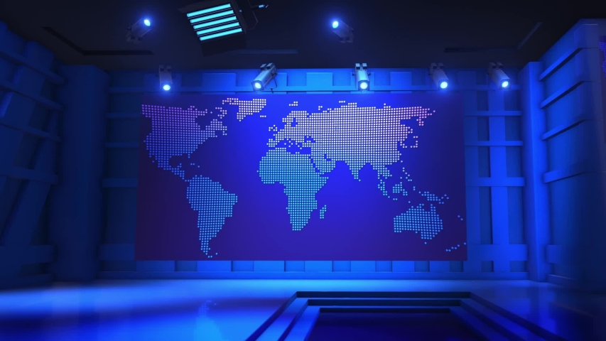 3D Virtual TV Studio News, News Studio, Light Blue colored rotating globe in background window for News best TV Program seamless loopable